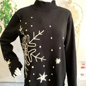 Hanna Andersson Women's Black Sweater Snowflake M
